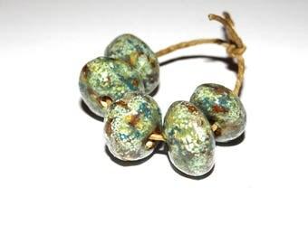 Ceramic Nugget Bead Set Stoneware Handmade Pottery Beads Rustic Mossy Lichen