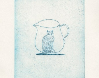 cat + jug etching print