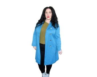 Plus Size Jacket /Vintage 1960's Jacket / Bright Blue Rain Coat / Size L / Vintage Coat