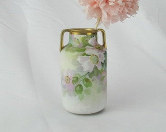 Vintage Antique Nippon M Wreath Vase In Soft Pastels with Pink Blossoms and Gold Embellished Handles and Rim Urn Vessel Vase 1910s - 1930s