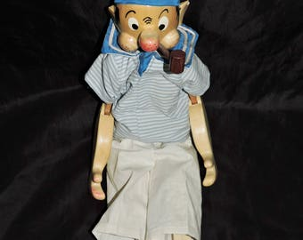 Vintage German Popeye The Sailor Doll Wood Jointed Pipe Painted Face Anchor Suit