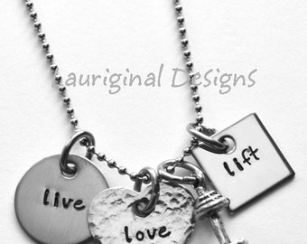 Live Love Lift - Weightlifting necklace or bracelet - Exercise necklace - Work out necklace - See ALL photos!
