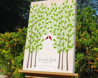 Wedding Tree Guest Book Alternative, Unique Wedding Signature Tree, Personalized Love Birds Gallery Wrapped Canvas, 50-300 Guests