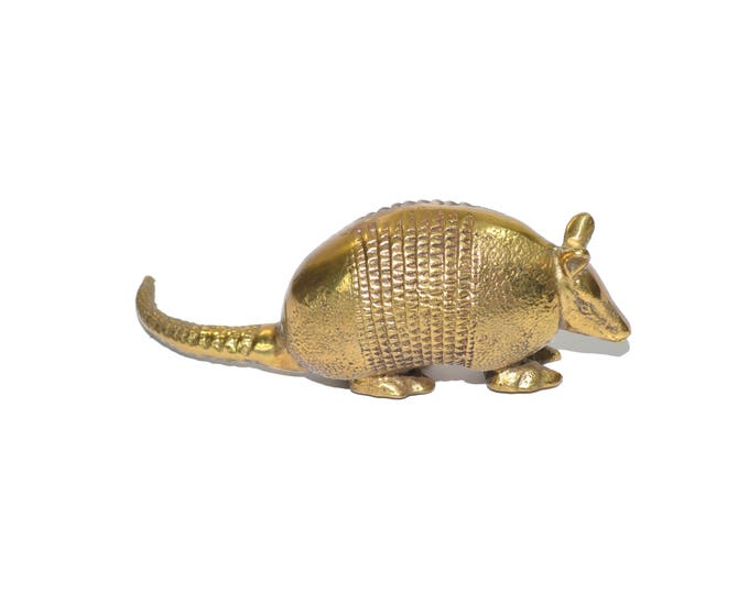 Featured listing image: Brass Armadillo Gold Armadillo Southwestern Decor Armadillo Statue Dessert Texas