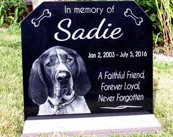 Pet Grave Marker Pet Memorial Stone Granite Headstone optiona * Base Stand * Customized w/ YOUR Pets Photo Outdoor/Indoor Stand Memorial