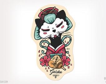Geisha Cat Sticker Cat Black Kitty Ganbatte Black Cats Sticker