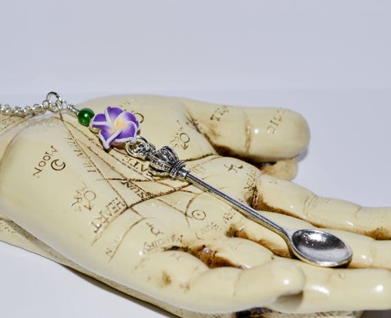 Crown Spoon Necklace - Purple