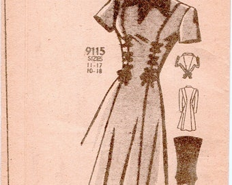 Unused Vintage 1940s Marian Martin 9115 Flared Princess Dress with Lacing Trim Sewing Pattern B33