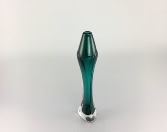 Hand Blown - Jade Green Tapered Bud Vase by Jonathan Winfisky