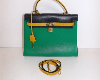 Vintage real leather green navy blue and mustard kelly grab handbag bag by Bascora with working lock and key