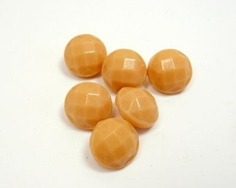 Tiny Caramel Buttons, 8 mm Dimi Tan Glass Buttons Faceted 6 Matching Small Vintage Buttons Shank, Miniature, Findings, Doll Buttons