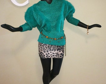 Vintage 80s Angora & Lurex Glitter Sweater Teal Green Batwing Dolman Sleeve 1980s Holiday Christmas Party Dynasty Top Size Size Medium Large