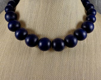 Statement Necklace, Wood Necklace, Blue, Big Necklace, Navy, Big Bead Necklace, Boho, Blue Bead Necklace, Chunky Necklace, Strand Necklace