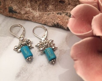 Turquoise dyed Howlite - Sterling Silver Earrings - 5541