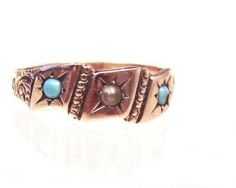 Sale! Victorian Turquoise and Seed Pearl 9K Gold Band Ring, Stacking Ring, Pinky Ring