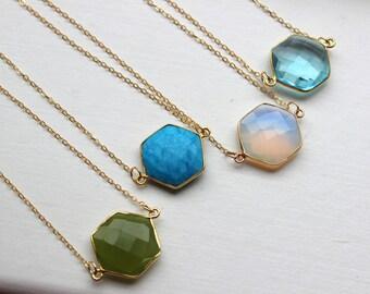 Gemstone Necklace, Gemstone Jewelry, Geometric Necklace, Geometric Jewelry, Hexagon Gold Statement Necklace Gold Dainty Jewelry Gift for Her