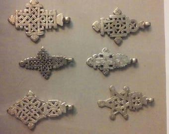 Ethiopian Coptic Crosses (6) jewelry making, pendants, Rasta Culture (ec003)