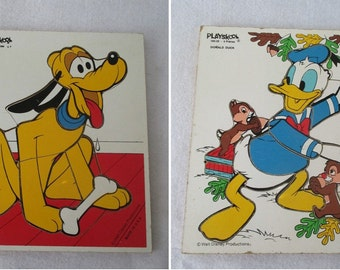 Disney Puzzles, Vintage Donald Duck or Pluto, Nursery Decor Small Motor Skills Large Puzzle Pieces Red Yellow Blue Brown, Gift for Child