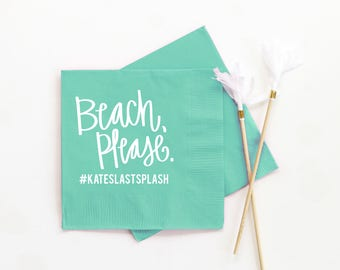 Beach Please Napkins Bachelorette Party Decorations Personalized Cocktail Napkins Beach Bachelorette Party Ideas Custom Beverage Napkins