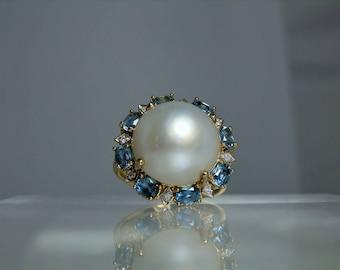 Vintage Mabe Pearl Diamond Blue Topaz 10k Yellow Gold Ring Size 9 Big Cocktail Ring Beautiful Halo Design DanPickedMinerals