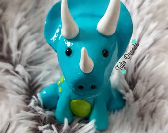 Cute Kawaii Triceratops Dinosaur Clay Figurine