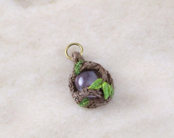 Mystical Woodland Fairy Pendant with Purple Glass Stone