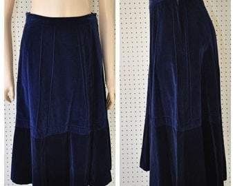 1970s 1980s BLUE VELVET SKIRT Womens boho hippy chick vintage cotton velvet midnight blue retro waist 27 28 geometric