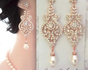 Rose gold pearl earrings ~ Brides earrings,Rose gold crystal earrings,Rose gold chandelier earrings,Rose gold wedding jewelry,Swarovski, MIA