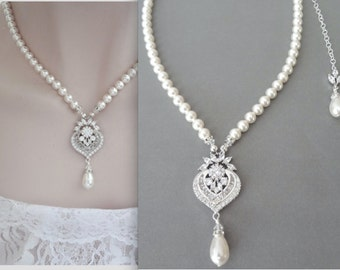 Brides necklace, AAA+ Cubic Zirconia's, Pearl necklace, Pearl wedding Necklace, Swarovski pearl necklace ~ High quality, Stunning ~ LILLY