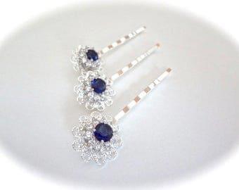 Sapphire blue cubic zirconia hair pin ~ Brides hair pin ~ Wedding hair accessories ~ Something blue ~ Hair Jewelry ~ KATE