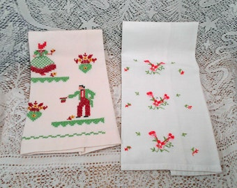 Pair of Vintage Hand Towels Sunbonnet Girl and Guy Embroidered X Stitched Flowers