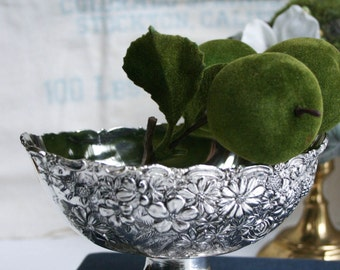 Floral Repousse, Embossed Floral, Metal Pedastal Footed Bowl, Candy Dish, Made in Japan