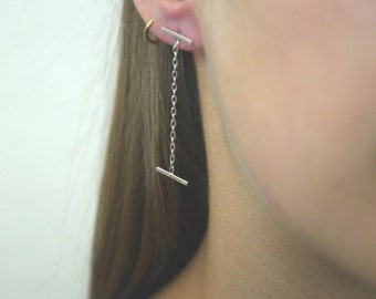 Sterling Silver Line chain Earring- Silver Ball Earring- Silver Bar Stud- chain bar earring