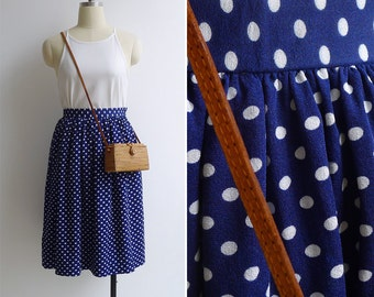 15% SALE (Code In Shop) - Vintage 80's Minnie Mouse Blue & White Polka Dot Skirt XXS