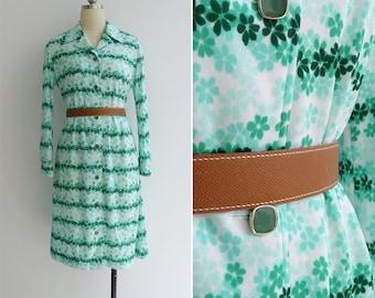 Vintage 70's Green Clover Leaf Floral Op Art Polyester Knit Dress M or L