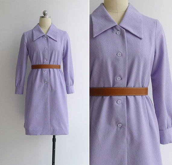 Vintage 70's 'Lilac Dream' Mod Collared Shift Dress S or M