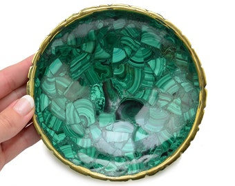 "Precious! 1 Large MALACHITE Crystal Bowl 5.2"" for Altar Offering Decor Healing Crystal and Stone Protection #MB01"