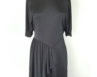 70s Black Slinky Disco Dress by Calhoun - Small