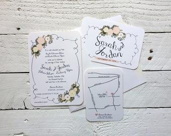 Romantic Whimsical Floral, Personalized Wedding Invitation, Custom Wedding Suite, Invite and Response Set, Wedding Stationery Sample