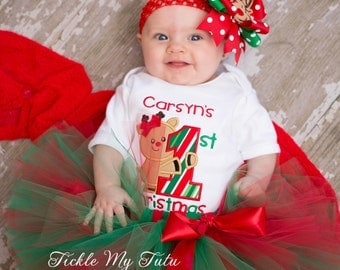 My First Christmas Tutu Outfit-My First Christmas Tutu Set-Baby's First Christmas-Christmas Birthday Tutu Outfit *Bow NOT Included*