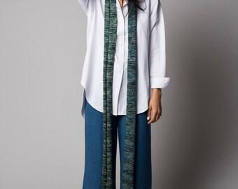 Green knit merino wool scarf