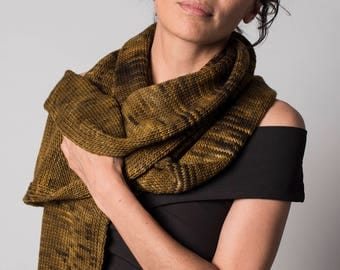 Long knit scarf, Tiger brown melange knit merino wool scarf, Father's day gifts