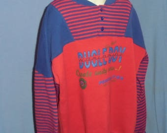Vintage Bugle Boy Boy's Sweatshirt Shirt Red And Blue Stripes Large Boy's Size 16/18