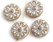 18mm Beige and Silver Flower beads, 2pc Czech glass Round tablet floral ornament beads, Natural beige color - 2pc - 1739