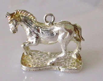 Large Vintage Silver Horse Charm