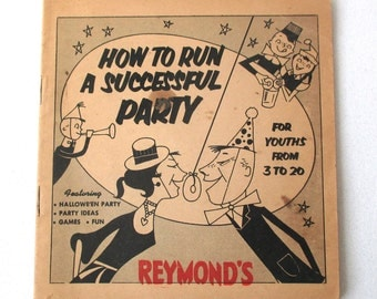 Vintage How To Party Booklet, Christmas Time, Reymonds Donuts, Pirate Party, Halloween, youths 3 to 20