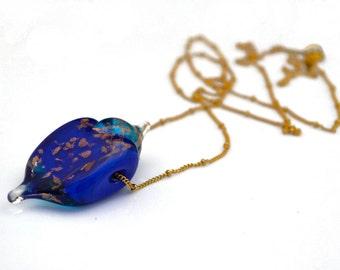 Vintage necklace // Unique necklace // Cobalt blue necklace // Art jewelry // Modern art necklace // Glass jewelry, under 100