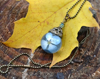 Blue Hydrangea Real Flower Orb Resin Pendant with Antiqued Bronze Metal