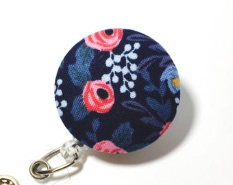 Navy Rifle Paper Co Fabric Retractable badge reel Name Badge Reel Retractable ID Badge Holder Name Badge Clip Badge Pull name tag holder