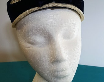 White and Navy Blue Hat w/ Vevet Bow Pearls and Rhinestones 1950s